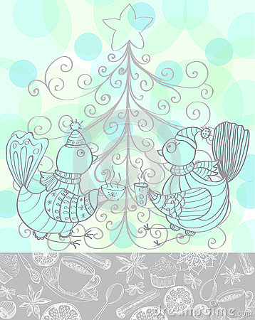 Winter holiday background with cute birds