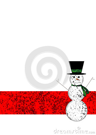 A winter holiday background with happy snowman