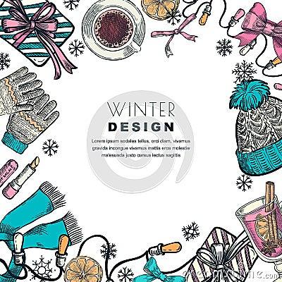 Winter holiday frame. Vector color sketch illustration. Banner or poster design template Vector Illustration