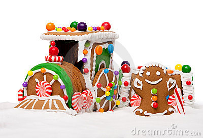 Winter Holiday Gingerbread Polar Express Train