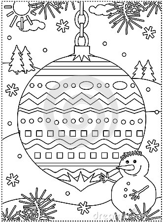 Free Winter Holidays Coloring Page With Decorated Ornament And Snowman Stock Image - 106626711