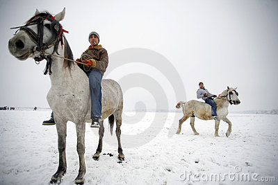 Winter horse riding Editorial Photo