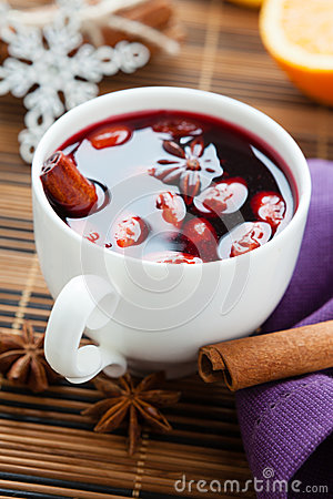 Winter hot drink of wine, mulled wine