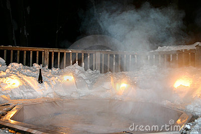Winter Hot Tub at night