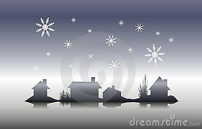 Winter House Silhouette Christmas Eve