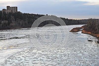 Winter ice river