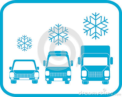 Winter icon with transport silhouette