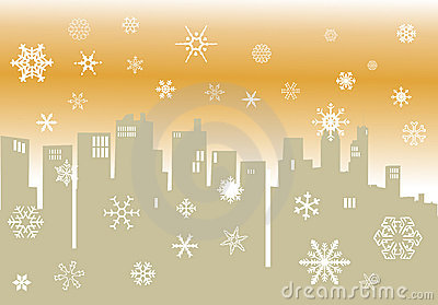 Winter illustration with cityscape silhouette