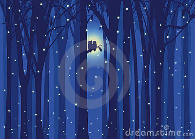 Winter illustration love owl in snowing forest