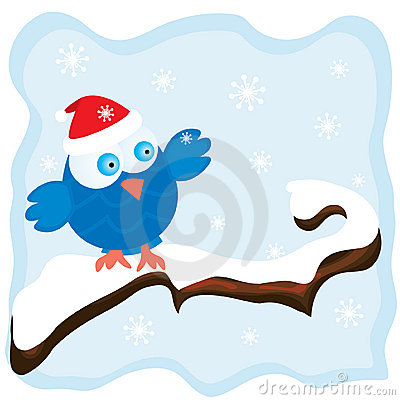 Winter image with cartoon blue bird