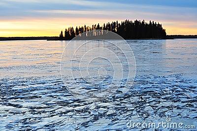 Winter island and lake