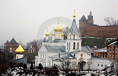 Winter january view of Church Elijah the Prophet and Kremlin