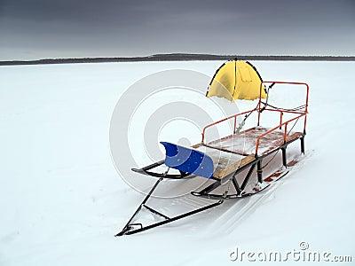 Winter lake fishing