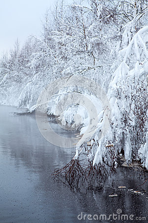 Winter lake with fog over the water