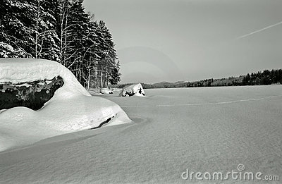 Winter lake - vintage