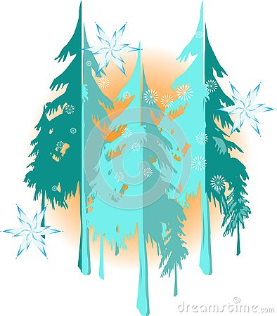 Winter landscape background with nice snowflakes and trees silhouette Vector Illustration