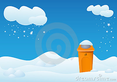 Winter landscape with bin