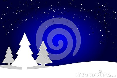 Dark blue and white Christmas trees landscape background, spruce forest silhouette. Vector Illustration