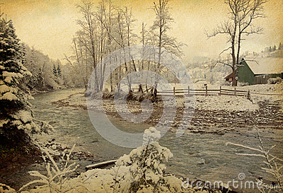 Winter landscape in the carpathians mountains.