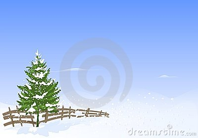 Winter landscape, cdr vector