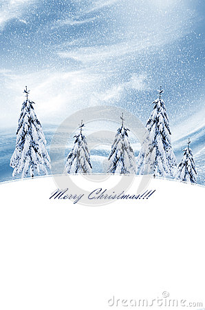 Free Winter Landscape. Christmas Card Royalty Free Stock Photos - 60169008