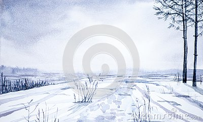Winter landscape of forest and snowy field. Hand drawn watercolor illustration Cartoon Illustration