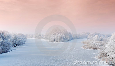Winter landscape with frozen river