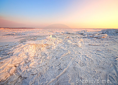 Winter landscape with frozen sea