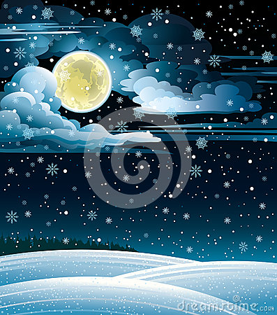 Winter landscape and full moon.