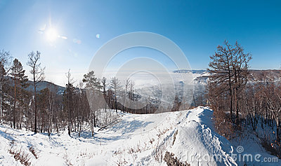 Winter landscape of Lake Baikal