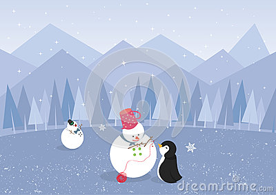 Winter landscape with penguin and cute snowman (ve