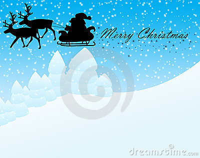 Winter landscape and santa