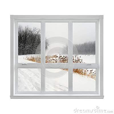 Free Winter Landscape Seen Through The Window Royalty Free Stock Photos - 27697998