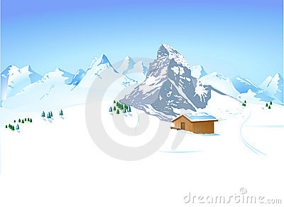 Winter landscape with shelter