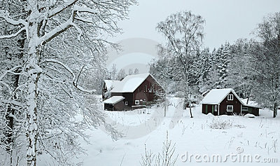 Winter landscape in southern Sweden