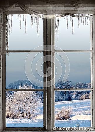 Free Winter Landscape Through Window Royalty Free Stock Photos - 34305068