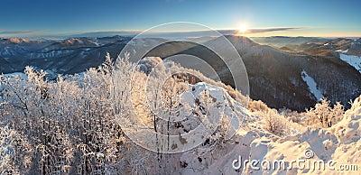 Winter landscape with village