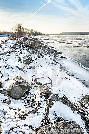 Winter landscape with Vistula river