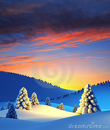 Free Winter Landscape With Fir Trees Royalty Free Stock Photography - 16811957
