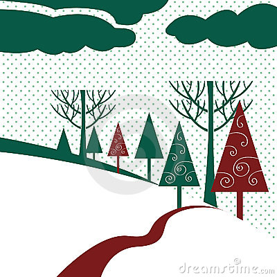 Free Winter Landscape With Trees Royalty Free Stock Images - 12242829