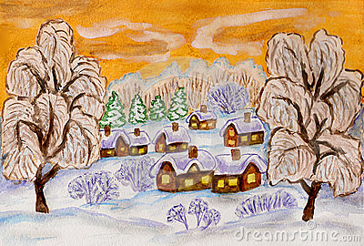 Winter landscape on yellow