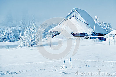 Winter landscapes with snowy home