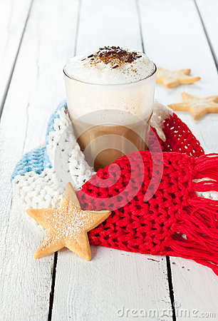 Free Winter Latte Coffee In White Tall Glass With Christmas Cookies Stock Photo - 35318630