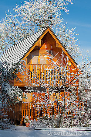 A Winter Log Cabin