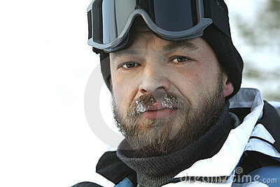 The winter man / fan of skiing