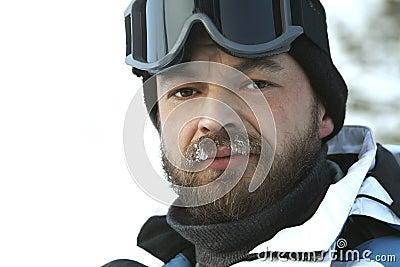 The winter man / fan of skiing