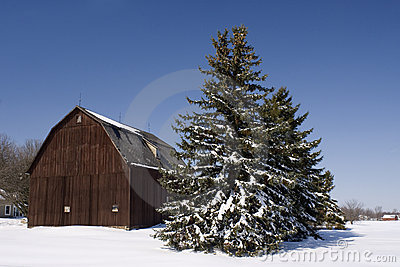 Winter Midwest Farm Scene