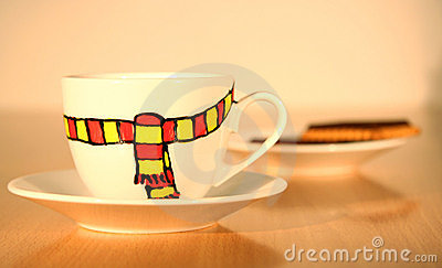 Winter mood in coffee cup