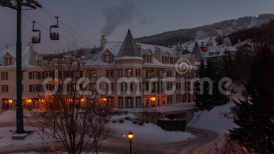 Winter morning at ski resort in mont Tremblant time lapse stock video footage