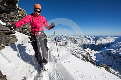 Winter mountain climbing